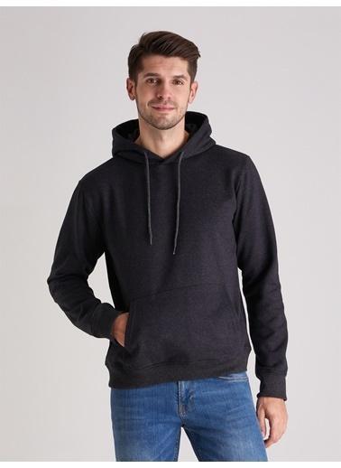 Dufy Kapüşonlu Kanguru Ceplı Erkek Sweatshirt - Slim Fit Antrasit